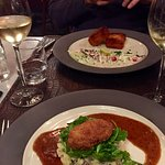 Veal Cheeks With Mashed Potato and a Cheese Croquette in the most delicious Jus
