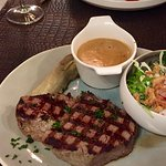 Fillet Steak with Peppercorn Sauce and Salad