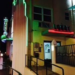 Outside at night the art deco style neon lights add a special touch to this timely hotel