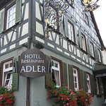 HotelAdler showing traditionalSchwabian architectural style of maimbuilding.The Restaurant is up