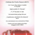 Christmas party menu 2016, bookings now being taken