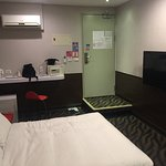 Here's the room, very comfortable, everything worked, as I mentioned, a shower curtain would be