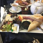 my ploughmans and hubbys all day breakfast in the background