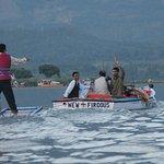 Locals wake boarding... Kasmiri style