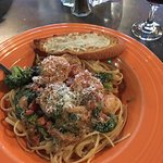 Delicious Chicken Marsala and blackened shrimp fettuccine with yummy veggies