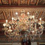 Lovely chandelier in a common room.