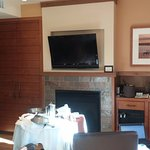 our fireplace with in room dining