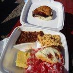 brisket, pulled pork sandwich meal