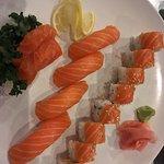 Salmon combo  4 pieces nigiri, 2 pieces sashimi & Salmon Combo Roll (Spicy krab, avocado , and s