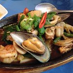sizzling seafood plate