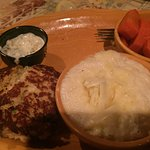 Crab cake with grits & carrots