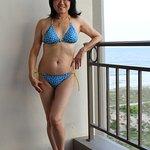 8th-floor balcony (one of my favorite memories) Paul Smith blue specks classic triangle bikini