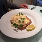 Fishy breakfast - scrambled egg and salmon - delicious.