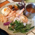 Nam Prik Goong - Tiger prawns with rice noodles, steamed cabbage, pumpkin, onion, thai herbs, sw