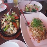 Mixed seafood hot plate ($24), side of stir fry vegies ($16), fillet of Cod ($38)
