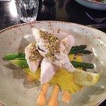 Pistachio dukkah crusted blue eye with saffron mash & asparagus