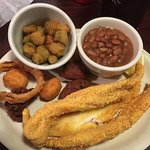 Catfish, hushpuppies, beans, okra, onlon rings. Ahh.....