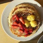 Lemon Ricotta Pancakes and Omlet (ham and Gruyere)
