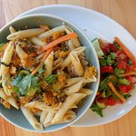 Pasta with Butternut Squash, Veggies and Salad