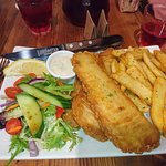 Whiting fish and chips with generous serving of salad