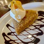 Treacle tart with vanilla ice cream and physilis