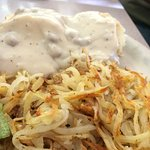Sausage Gravy & Biscuits with Hash Browns