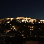 sunset from the room looking at the Acropolis