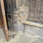 Entrance to Minster marks flood levels for various years