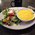 Potato dumpling soup and their #1 salad choice with hot tea!