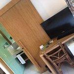 tv, fridge and bathroom