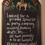 Advertising banquet space, Elephant & Castle  161 Devonshire St, Boston, MA