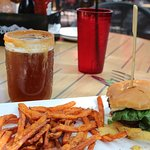 Pumpkin ale with sugar,cinnamon, and caramel rimmed glass. BBQ hamburger and sweet potato fries