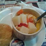 A cup of Chowder (with potato, carrots, celery, lobster, scallops & white fish) & homemade biscu