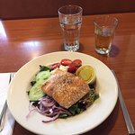 Greek Salad with perfectly prepared salmon