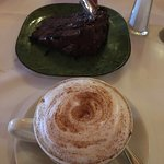 Cappuccino and chocolate cake for desert