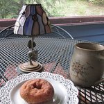 coffee and an apple cider donut