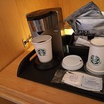 Courtesy tray with oversize Starbucks coffee bags