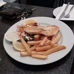 Grilled snapper, salad and chips