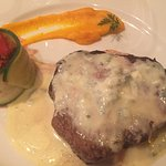 Blue cheese filet. Lovely wine pairing and sides.