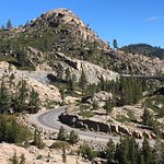The sinuous road about 2.5 miles up from Truckee, access point for the tunnel hike.