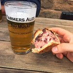 Home made pork pie and Farmers Ale