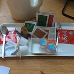 Two tea bags for two people two sugar.