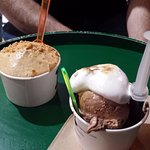 salted caramel and rum, vanilla ice cream with chocolate cake and marshmallow