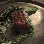 David Blackmore with grilled broad bean leaves, creamed nettles and lemon