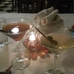 Manhattan and Martini made to perfection to start our meal