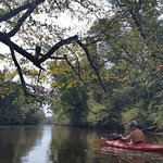 Kayaking along fishing creek
