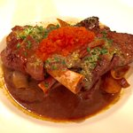 Lamb shank with gnocchi.