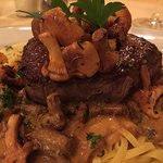 Filet of beef with noodles and chanterelle sauce