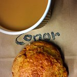 Cherry & coconut scone with coffee