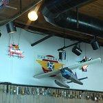 model Alaskan sea plane decorating the restaurant